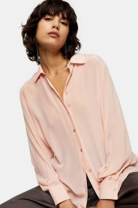 TOPSHOP Blush Pink Oversized Silk Shirt – luxe shirts