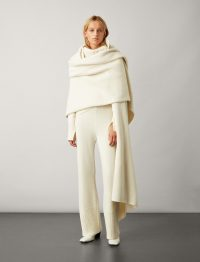 Joseph Boiled Wool Snood Scarf in Cream | statement scarves