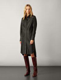JOSEPH Brann Nappa Leather Shirt Dress in Black