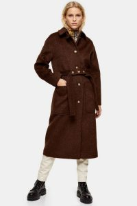 Topshop Brown Brushed Coat in Chocolate | Fall colours