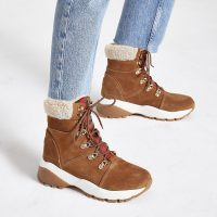 RIVER ISLAND Brown suede lace-up borg trim hiker boots