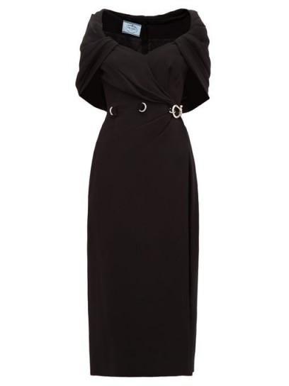 PRADA Buckled-waist cape cady-crepe dress in black ~ vintage style evening wear