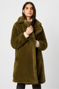French Connection BUONA FAUX FUR LONG COAT Loden Green ~ cosy winter coats