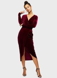 MISS SELFRIDGE Burgundy Long Sleeve Velvet Wrap Dress – vintage style evening glamour