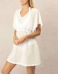 heidi klein Cairns Drawstring Mini Kaftan in white – short kaftans – beach cover up – pool fashion