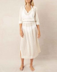 heidi klein Cairns Tie Tunic Dress in white – embroidered cotton cover up – poolside & beach fashion