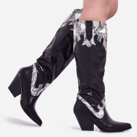 EGO Callie Snake Print Detail Knee High Western Long Boot In Black Faux Leather
