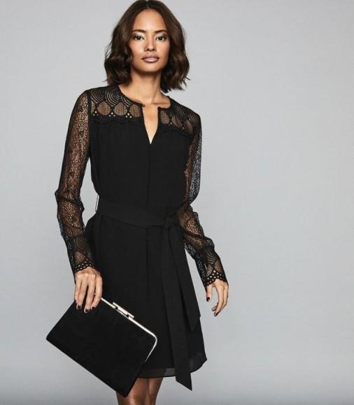 Reiss CALLISTA LACE DETAIL BELTED MINI DRESS BLACK – perfect evening look – lbd