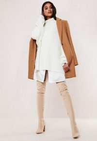 MISSGUIDED camel formal coat
