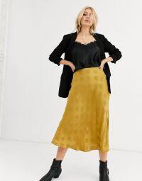 Capulet lara spot jaquard slip skirt in gold polka dot