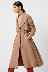 French Connection CARLA LYOCELL OVERSIZED COAT Mocha Mousse ~ drawstring waist winter coats