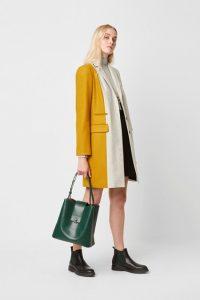 French Connection CARMELITA COLOUR BLOCK WOOL COAT Dove Grey Mel/Utility Blue/Citronelle ~ contemporary coats