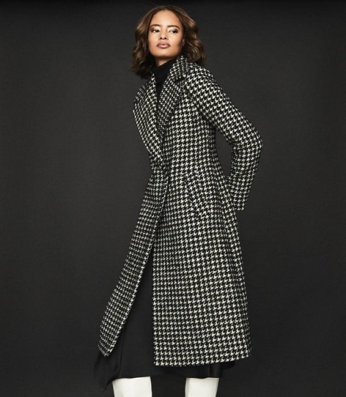 Reiss CELIA DOGTOOTH CHECK OVERCOAT MONOCHROME – classic winter coats