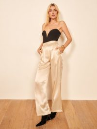 REFORMATION Chandler Pant in Ivory – high rise silky pants