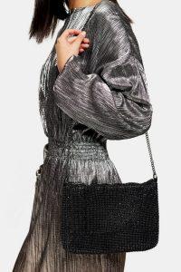 TOPSHOP CHARM Black Clutch Bag – diamante flap bags