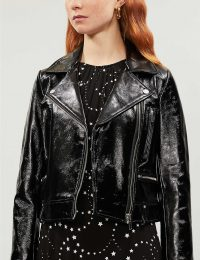 CLAUDIE PIERLOT Carly cropped patent-leather biker jacket in black