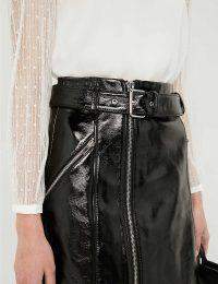 CLAUDIE PIERLOT Casino black patent-leather mini skirt / shiny zip detail skirts