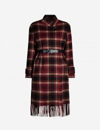 CLAUDIE PIERLOT Fringed checked wool-blend coat – fringe trimmed winter coats