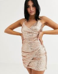 Club L London sequin wrap front asymmetric mini dress in rose gold / shimmering thin strap party dresses