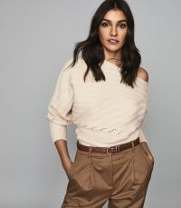Reiss COCO OFF-THE-SHOULDER JUMPER CAMEL | chic knitwear