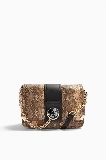 TOPSHOP COLEEN Quilted Cross Body Bag Natural – snake print crossbody