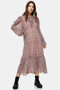 TOPSHOP CONSIDERED Floral Chuck On Dress – ruffle trimmed dresses