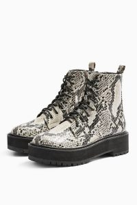 TOPSHOP CONSIDERED OSLO Snake Chunky Lace Up Boots
