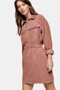 TOPSHOP CONSIDERED Pink Corduroy Long Sleeve Zip Shirt Dress – waisted cord dresses