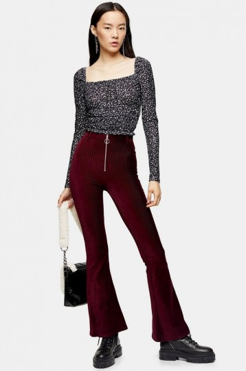 Topshop Corduroy Flare Trousers With Front Zip in Burgundy   cord flares