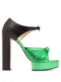 GUCCI Crawford knotted metallic-green leather platform sandals ~ 70s style luxe platforms