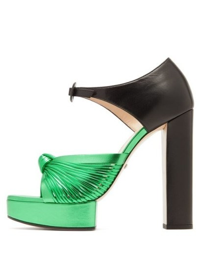 GUCCI Crawford knotted metallic-green leather platform sandals ~ 70s style luxe platforms - flipped