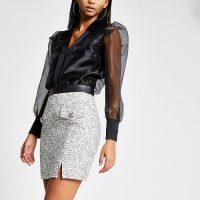 RIVER ISLAND Cream boucle pocket mini skirt