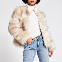 River Island Cream faux fur zip front jacket | fluffy jackets with a look of luxe