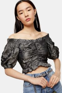 TOPSHOP Crushed Satin Prairie Blouse Gunmetal – frill trimmed crop top
