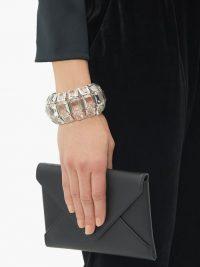 ALEXANDER MCQUEEN Crystal-embellished cuff – glamorous evening cuffs – designer bracelets