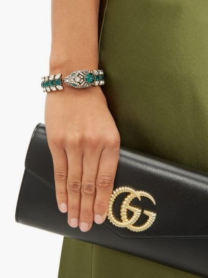 GUCCI Green and white crystal-embellished snake cuff bracelet