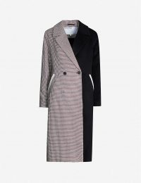 DESIGNERS REMIX Deborah double-breasted panelled checked woven coat in 935 check – paneled coats