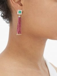 JADE JAGGER Diamond, ruby, chrysoprase & 18kt gold earrings / red and green stone drops / deco designs