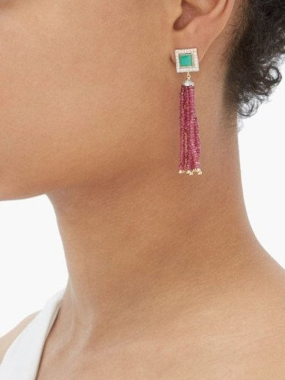 JADE JAGGER Diamond, ruby, chrysoprase & 18kt gold earrings / red and green stone drops / deco designs - flipped
