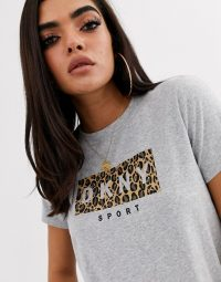 DKNY sport leopard print logo t shirt in pearl grey heather