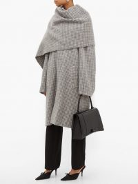 BALENCIAGA Draped-scarf houndstooth-wool coat in grey / checked winter coats