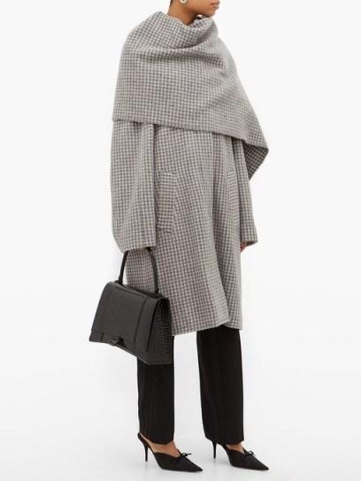 BALENCIAGA Draped-scarf houndstooth-wool coat in grey / checked winter coats - flipped