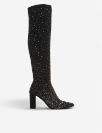 DUNE Starlight embellished over-the-knee boots in black fabric – glittering diamante boot