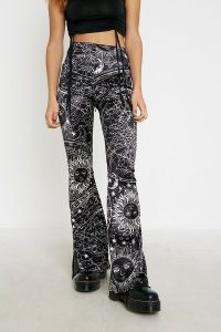 UO Celestial Satin Flare Trousers in Black Multi – printed pants