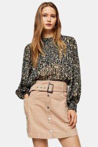 Topshop Ecru Corduroy Button Down Belted Mini Skirt