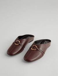 Joseph Elsa Leather Mule in Raisin | casual luxe | luxury flat mules