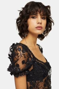 Topshop Embroidered Daisy Puff Sleeve Top in black – sequinned crop tops