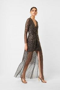 French Connection EMILLE SEQUIN PLUNGE NECK DRESS Pewter ~ glam evening dresses ~ sparkling occasion wear