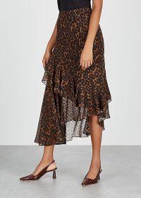 ERDEM Antoinette leopard-print midi skirt / asymmetric skirts