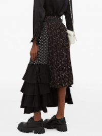 JUNYA WATANABE Ester black tiered crepe skirt / mixed print skirts